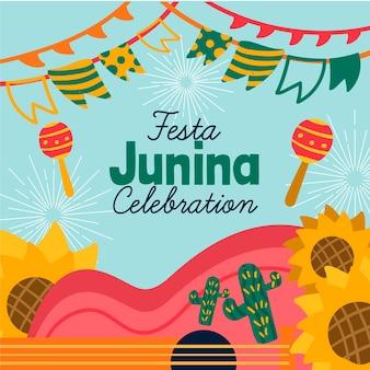 Coleção festa junina desenhada à mão