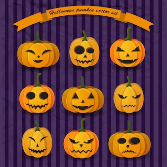Coleção festiva de abóboras de halloween com diferentes expressões e emoções