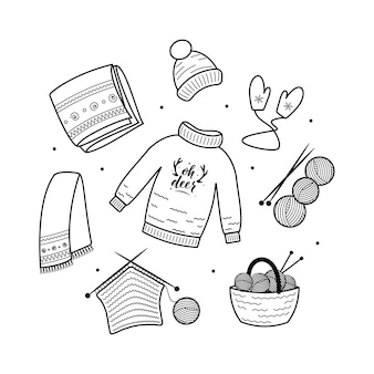 Coleção festiva de elementos aconchegantes de clipart de natal e higiene