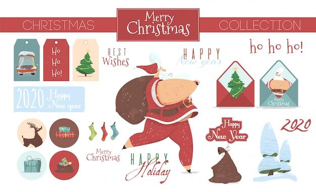 Coleção festiva de elementos de natal isolado
