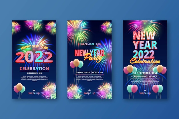 Coleção festiva de histórias de véspera de ano novo no instagram com fogos de artifício e balões realistas