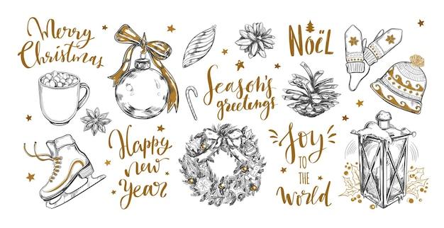 Coleção festiva de natal e ano novo com letras