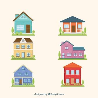 Coleção fixa de fachadas de casas com jardim