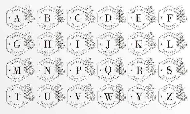 Coleção floral alfabeto