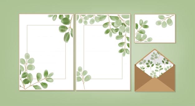 Coleção floral cartão em branco.