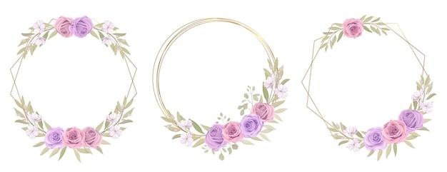 Coleção floral com enfeites de rosas e folhas de eucalipto