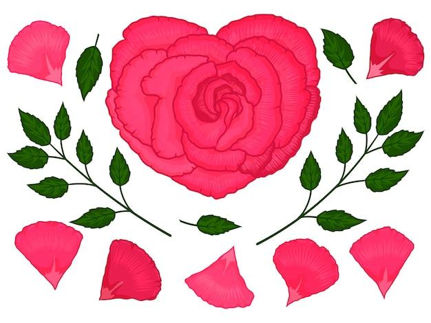 Coleção floral de elementos desenhados à mão. flor em forma de coração, rosa, pétalas e folhas. estilo de desenho animado.