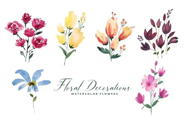 Coleção floral de flores decorativas em aquarela