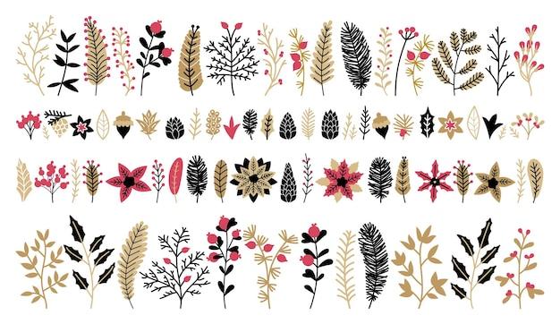 Coleção floral de natal com elementos de design dourado