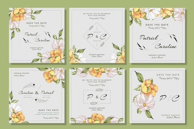 Coleção floral de postagens do instagram para casamento