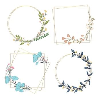 Coleção floral desenhada à mão