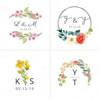 Coleção floral do monograma do casamento da aguarela