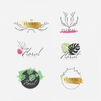 Coleção floral logotipo aquarela