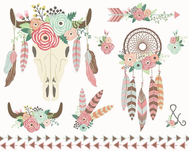 Coleção floral tribal isolada