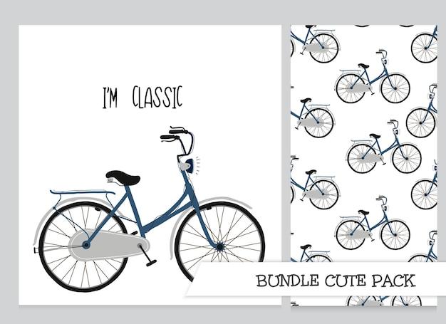 Coleção fofa cartoon ilustração plana clássica de bicicleta