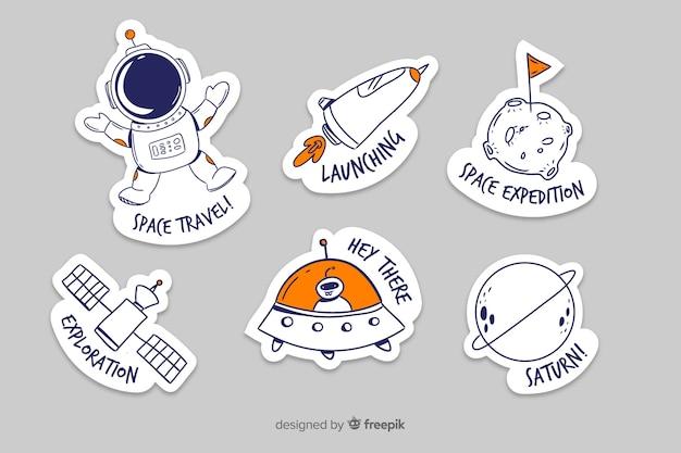 Coleção fofa de adesivos de espaço
