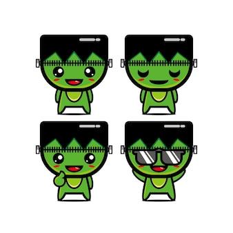 Coleção fofa de conjuntos de zumbis. ilustração em vetor de mascote de personagem de desenho animado.