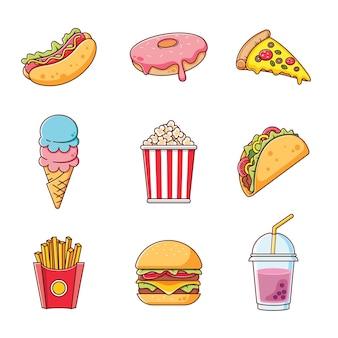 Coleção fofa de fast food com contorno