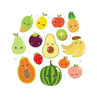 Coleção fofa de frutas coloridas com rosto sorridente