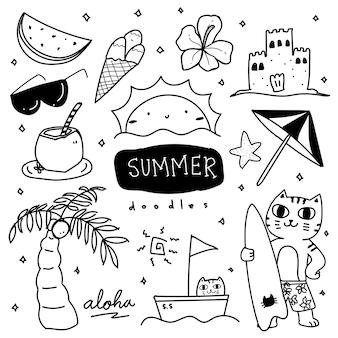 Coleção fofa de ilustração de doodle desenhado à mão no verão