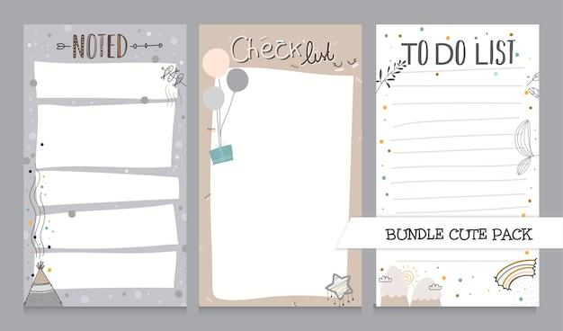 Coleção fofa de lista de anotações e modelo de lista de tarefas