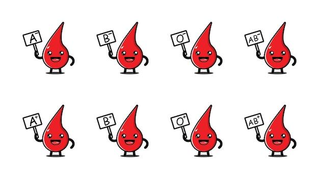 Coleção fofa de tipo sanguíneo
