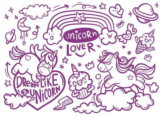 Coleção fofa de unicórnio e pônei com itens mágicos, arco-íris, asas de fada, cristais, nuvens, poção. para o desenho de livros para colorir. ilustrações de rabiscos de vetor.