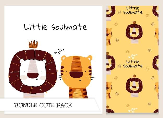 Coleção fofa desenho animado adorável leão com tigre