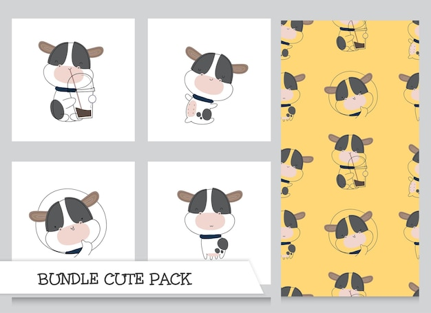 Coleção fofa desenho animado conjunto de padrão de vaca bebê
