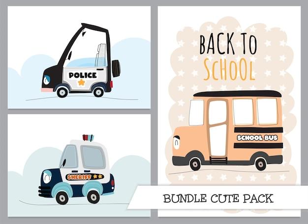 Coleção fofa dos desenhos animados do ônibus escolar liso com ilustração do carro da polícia