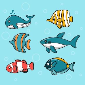 Coleção fofa exótica de peixes marinhos submarinos