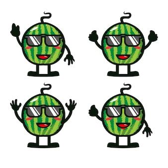 Coleção fofa melancia de verão conjuntos vector ilustração estilo simples personagem de desenho animado mascote