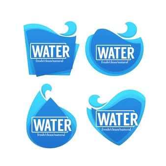 Coleção fresca, limpa, natural de adesivos de água, etiquetas, banners e logotipo para seu texto