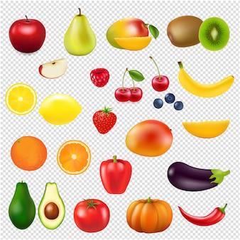 Coleção frutas frescas fundo transparente