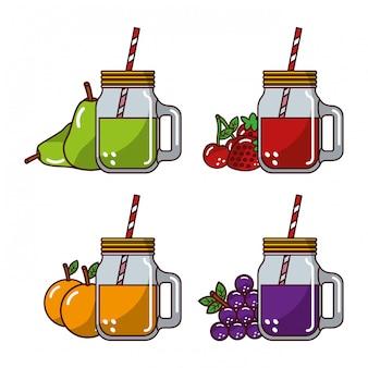 Coleção frutas sucos vidro palha fresco natural