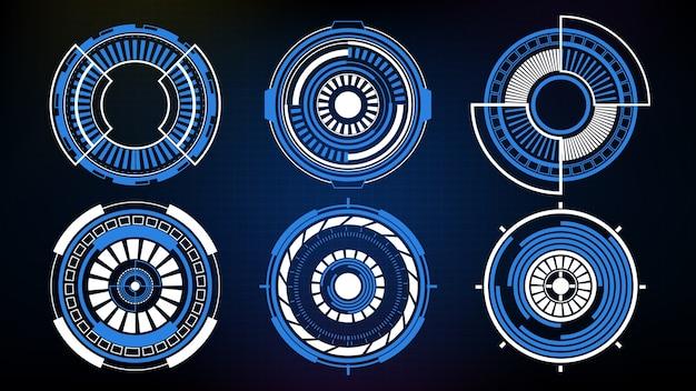 Coleção futurista abstrata do círculo sci fi frame hud ui
