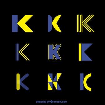 Coleção futurista do modelo da letra k do logotipo