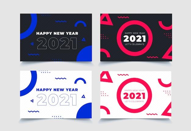 Coleção geométrica abstrata do ano novo de 2021 do fundo