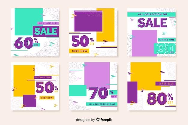 Coleção geométrica colorida do post do instagram da venda