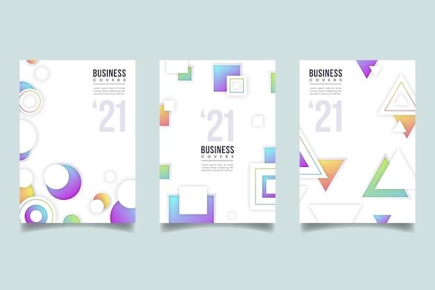 Coleção geométrica de capa de negócios