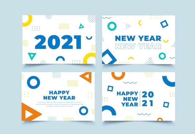 Coleção geométrica de fundo do ano novo de 2021