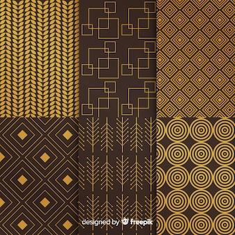Coleção geométrica de luxo escuro e dourado