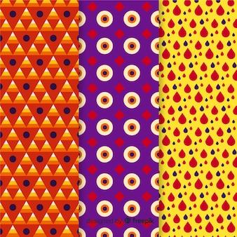 Coleção geométrica de padrão de halloween