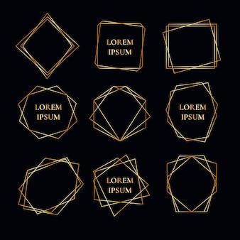 Coleção geométrica moldura dourada