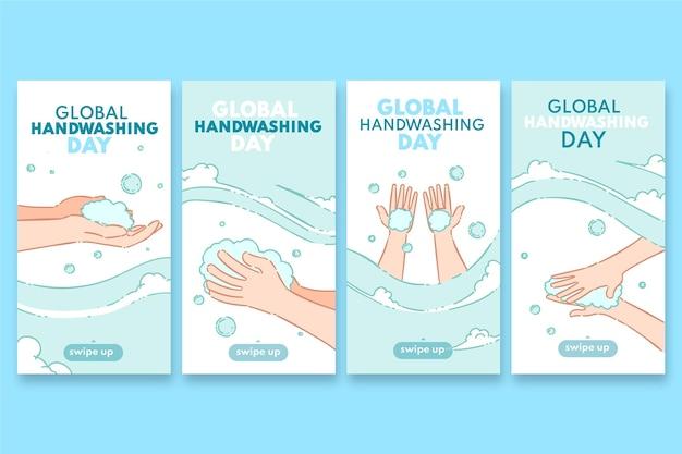 Coleção global de histórias do instagram do dia da lavagem das mãos desenhada à mão