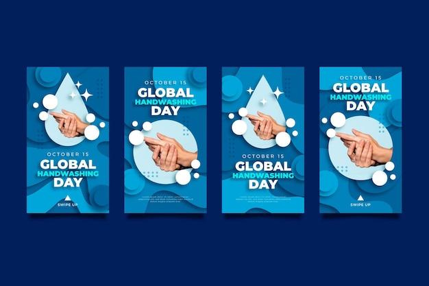 Coleção global de histórias do instagram do dia da lavagem das mãos em estilo de papel com foto
