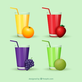 Coleção, gostoso, fruta, sucos, realístico, desenho