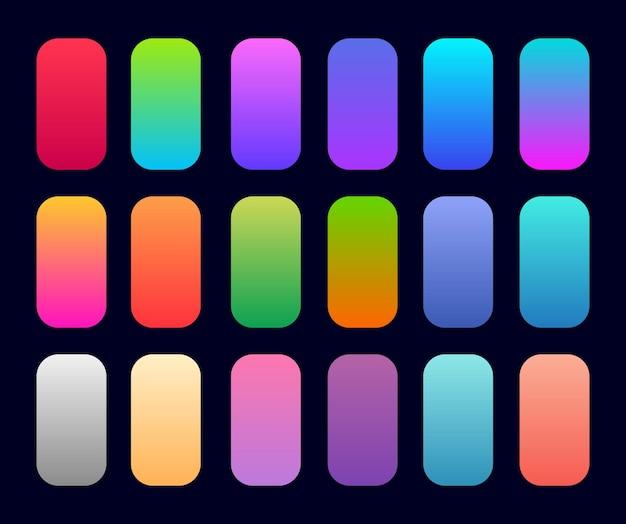 Coleção gradiente com cores brilhantes e multicoloridas