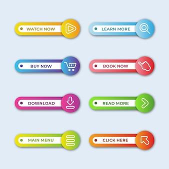 Coleção gradiente de botão de call to action