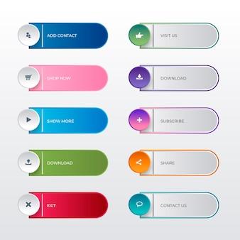 Coleção gradiente de botões de call to action